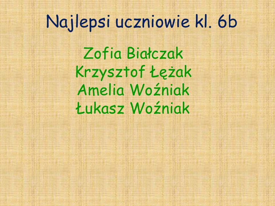 Najlepsi uczniowie kl. 6b Zofia Białczak Krzysztof Łężak Amelia Woźniak Łukasz Woźniak
