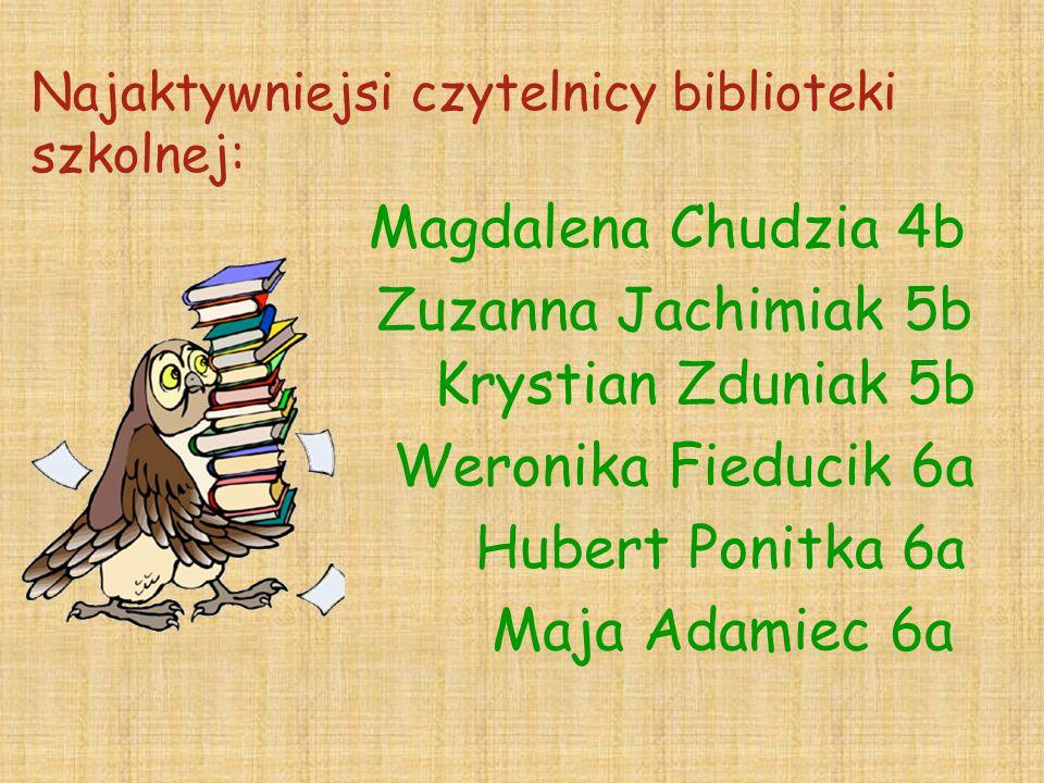 Najaktywniejsi czytelnicy biblioteki szkolnej: Magdalena Chudzia 4b Zuzanna Jachimiak 5b Krystian Zduniak 5b Weronika Fieducik 6a Hubert Ponitka 6a Ma