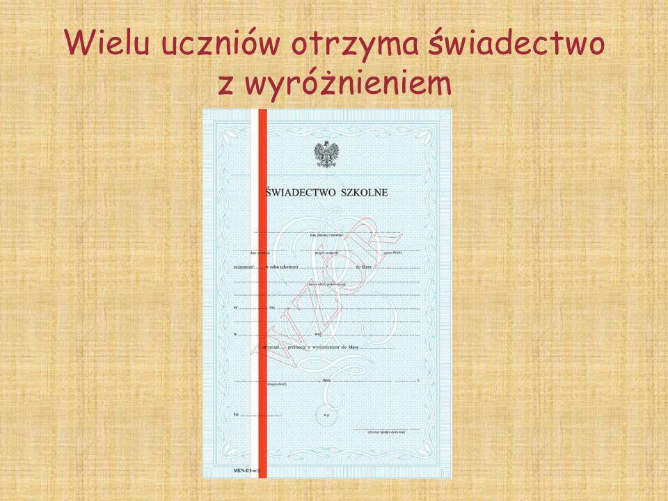 Najwyższą średnią w szkole uzyskał uczeń klasy 4b ADAM KRAWCZYK 5,64
