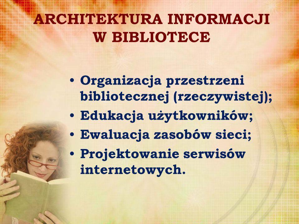 ARCHITEKTURA INFORMACJI W BIBLIOTECE Organizacja przestrzeni bibliotecznej (rzeczywistej); Edukacja użytkowników; Ewaluacja zasobów sieci; Projektowan