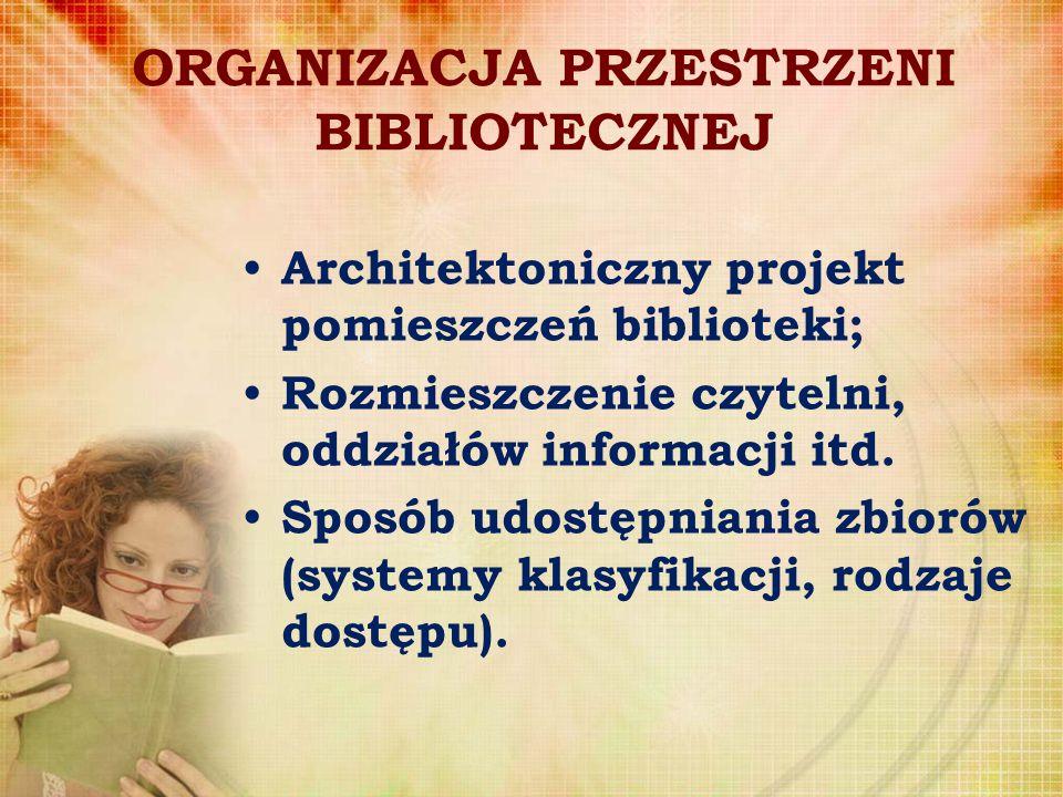 ORGANIZACJA PRZESTRZENI BIBLIOTECZNEJ Architektoniczny projekt pomieszczeń biblioteki; Rozmieszczenie czytelni, oddziałów informacji itd. Sposób udost