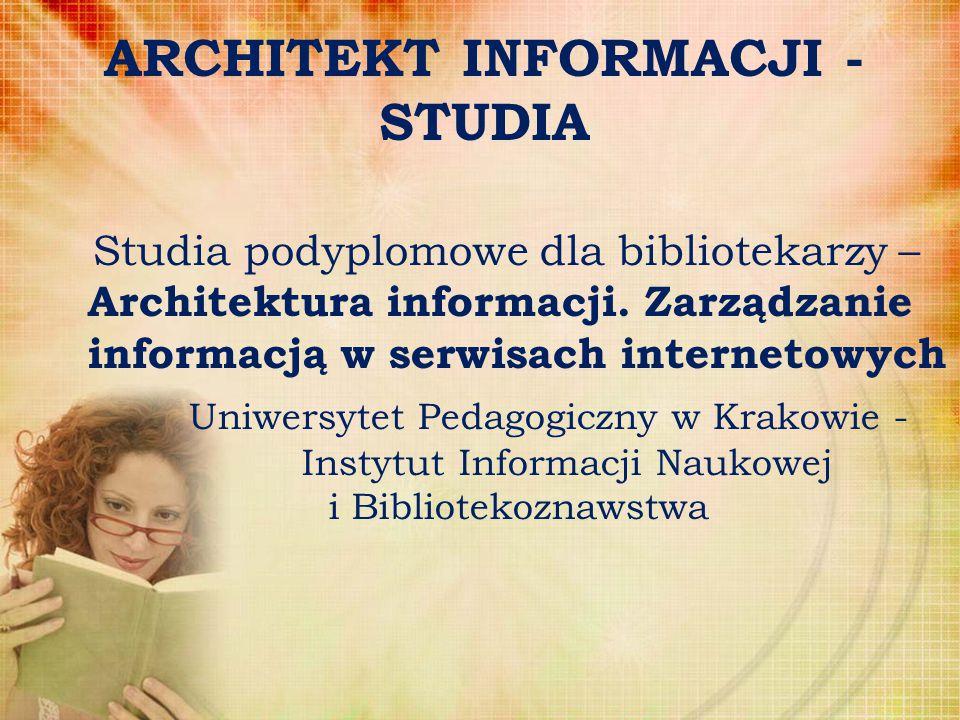 ARCHITEKT INFORMACJI - STUDIA Studia podyplomowe dla bibliotekarzy – Architektura informacji. Zarządzanie informacją w serwisach internetowych Uniwers