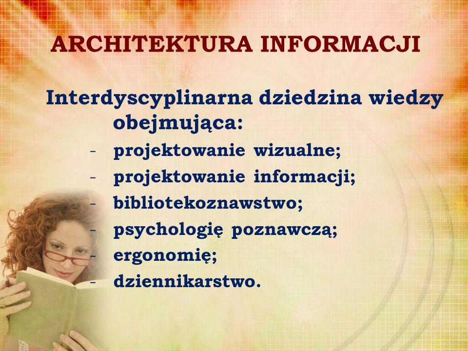ARCHITEKTURA INFORMACJI Interdyscyplinarna dziedzina wiedzy obejmująca: - projektowanie wizualne; - projektowanie informacji; - bibliotekoznawstwo; -