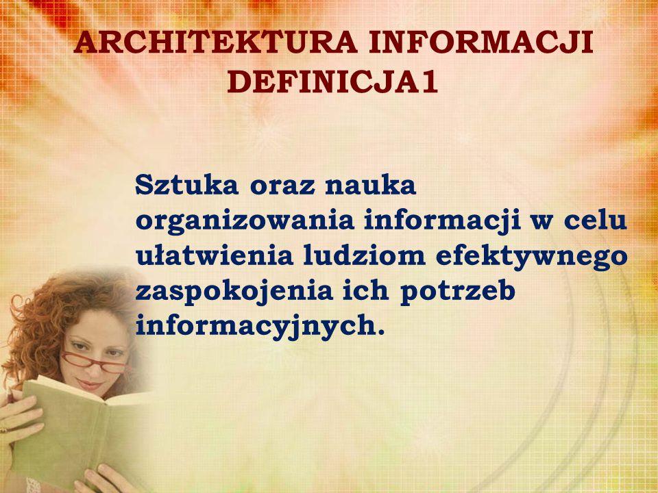 ARCHTEKTURA INFORMACJI DEFINICJA 2 Proces organizowania, nazewnictwa, projektowania nawigacji i systemów wyszukiwawczych pomocnych w znajdowaniu i zarządzaniu informacją.