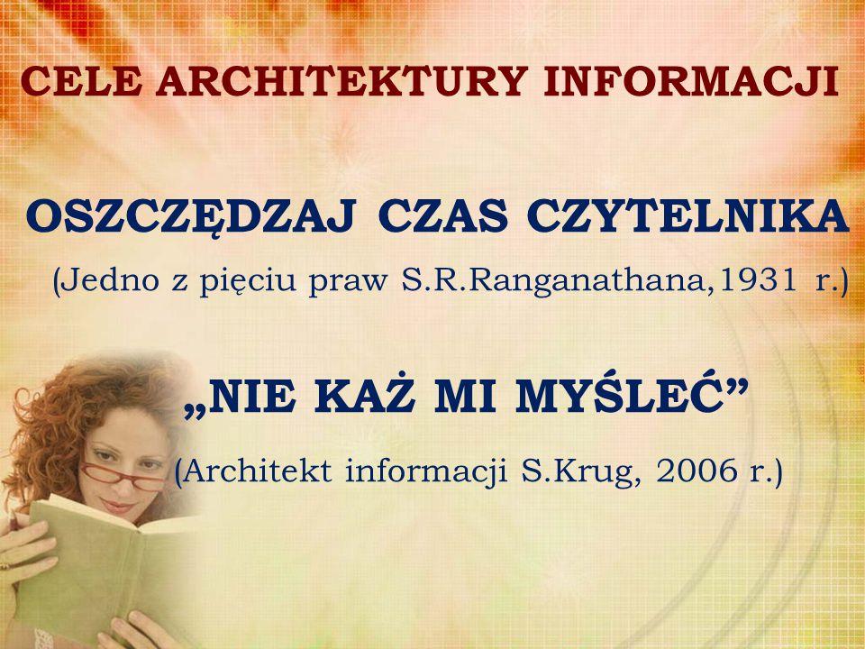 """CELE ARCHITEKTURY INFORMACJI OSZCZĘDZAJ CZAS CZYTELNIKA (Jedno z pięciu praw S.R.Ranganathana,1931 r.) """"NIE KAŻ MI MYŚLEĆ"""" (Architekt informacji S.Kru"""