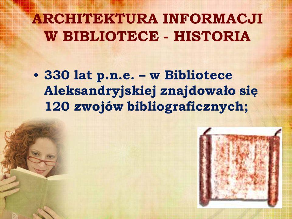ARCHITEKTURA INFORMACJI W BIBLIOTECE - HISTORIA 330 lat p.n.e. – w Bibliotece Aleksandryjskiej znajdowało się 120 zwojów bibliograficznych;