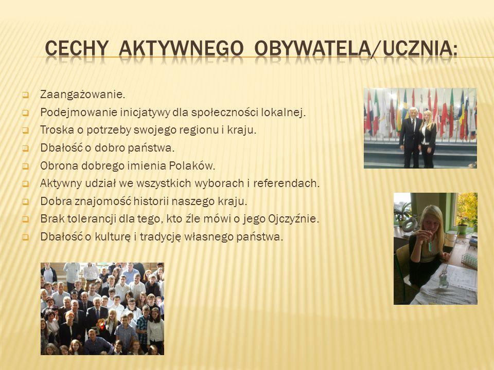  Zaangażowanie.  Podejmowanie inicjatywy dla społeczności lokalnej.  Troska o potrzeby swojego regionu i kraju.  Dbałość o dobro państwa.  Obrona