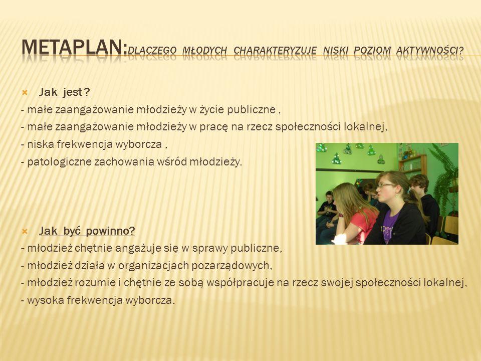  Jak jest ? - małe zaangażowanie młodzieży w życie publiczne, - małe zaangażowanie młodzieży w pracę na rzecz społeczności lokalnej, - niska frekwenc
