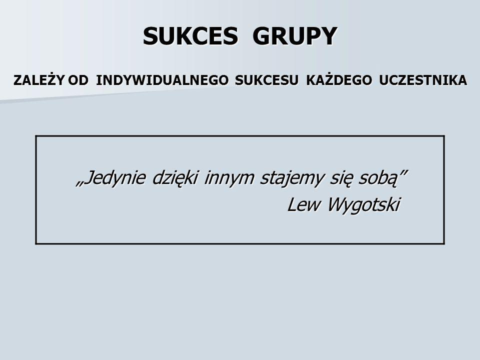 """SUKCES GRUPY ZALEŻY OD INDYWIDUALNEGO SUKCESU KAŻDEGO UCZESTNIKA """"Jedynie dzięki innym stajemy się sobą"""" Lew Wygotski Lew Wygotski"""