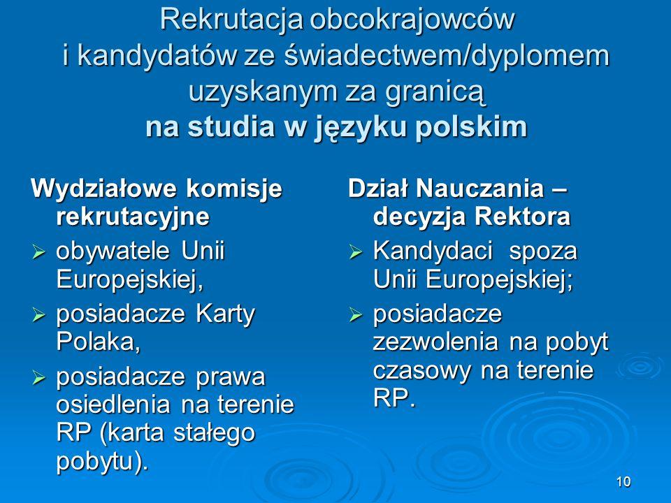 10 Rekrutacja obcokrajowców i kandydatów ze świadectwem/dyplomem uzyskanym za granicą na studia w języku polskim Wydziałowe komisje rekrutacyjne  oby