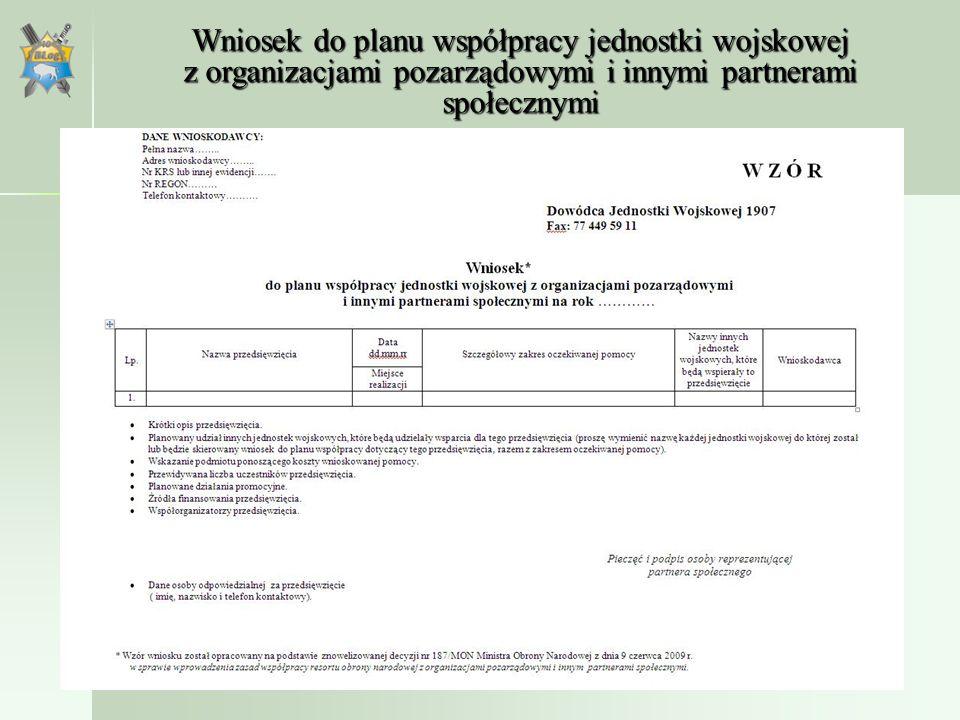 Wsparcie logistyczne Wsparcie logistyczne inicjatyw nie ujętych w planie współpracy może być udzielone tylko w sytuacjach uzasadnionych potrzebami Sił Zbrojnych lub ważnymi względami społecznymi, za zgodą Dowódcy Generalnego Rodzaju Sił Zbrojnych, Dowódcy Operacyjnego Sił Zbrojnych, Dowódcy Garnizonu Warszawa, lub Komendanta Głównego Żandarmerii Wojskowej, a w odniesieniu do udostępniania nieruchomości – także za zgodą Dyrektora Departamentu Infrastruktury.