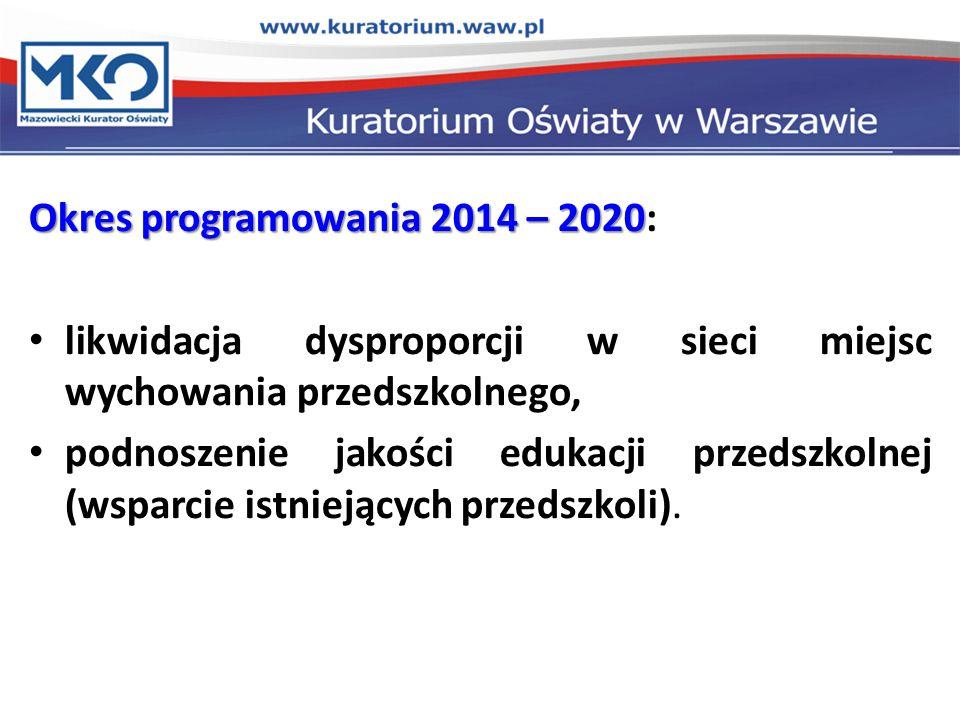 Okres programowania 2014 – 2020 Okres programowania 2014 – 2020: likwidacja dysproporcji w sieci miejsc wychowania przedszkolnego, podnoszenie jakości