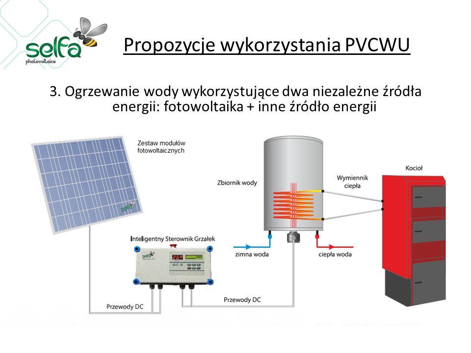 Propozycje wykorzystania PVCWU 3. Ogrzewanie wody wykorzystujące dwa niezależne źródła energii: fotowoltaika + inne źródło energii
