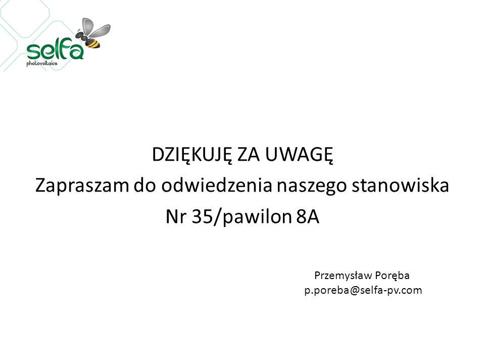 DZIĘKUJĘ ZA UWAGĘ Zapraszam do odwiedzenia naszego stanowiska Nr 35/pawilon 8A Przemysław Poręba p.poreba@selfa-pv.com