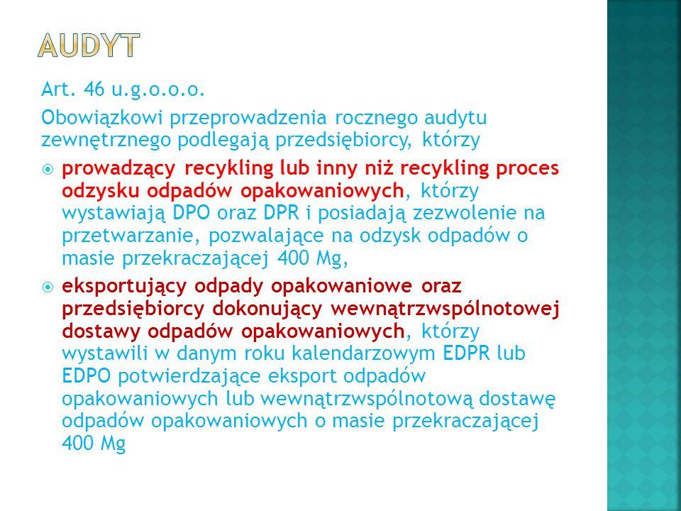 Art. 46 u.g.o.o.o. Obowiązkowi przeprowadzenia rocznego audytu zewnętrznego podlegają przedsiębiorcy, którzy  prowadzący recykling lub inny niż recyk