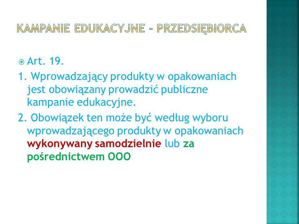  Art. 19. 1. Wprowadzający produkty w opakowaniach jest obowiązany prowadzić publiczne kampanie edukacyjne. 2. Obowiązek ten może być według wyboru w
