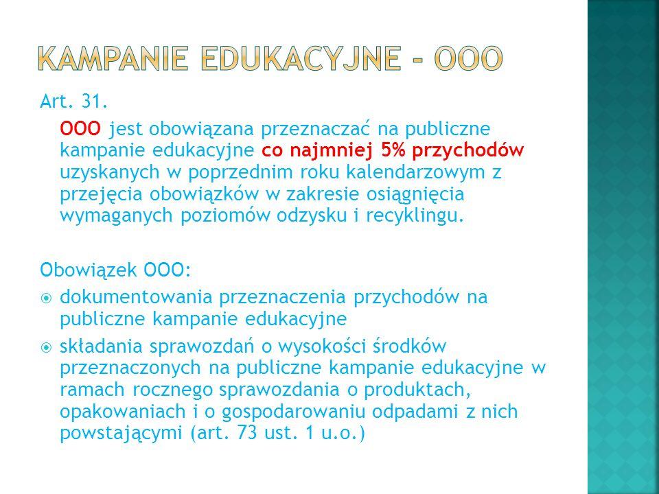 Art. 31. OOO jest obowiązana przeznaczać na publiczne kampanie edukacyjne co najmniej 5% przychodów uzyskanych w poprzednim roku kalendarzowym z przej