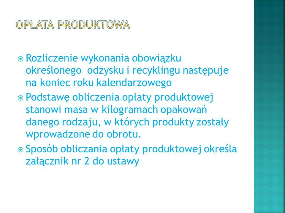  Rozliczenie wykonania obowiązku określonego odzysku i recyklingu następuje na koniec roku kalendarzowego  Podstawę obliczenia opłaty produktowej st