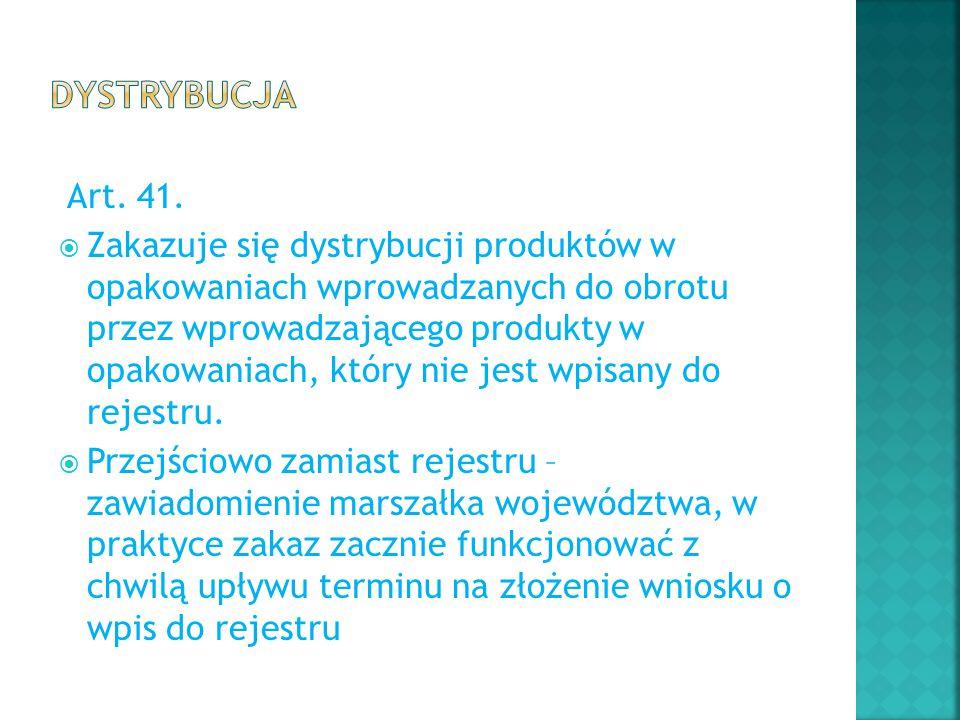 Art. 41.  Zakazuje się dystrybucji produktów w opakowaniach wprowadzanych do obrotu przez wprowadzającego produkty w opakowaniach, który nie jest wpi