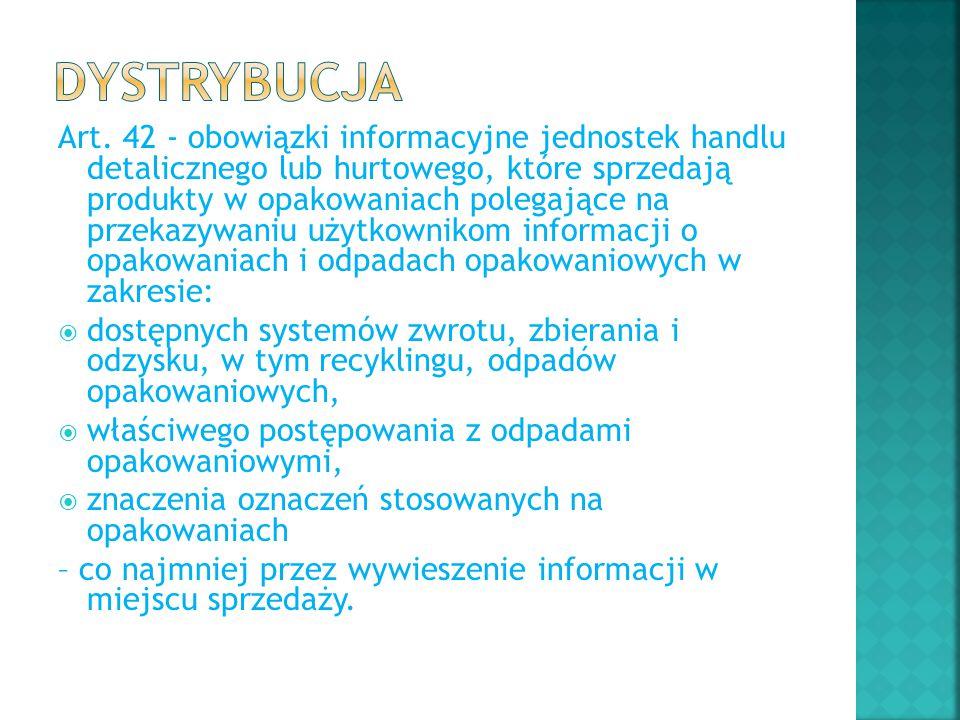 Art. 42 - obowiązki informacyjne jednostek handlu detalicznego lub hurtowego, które sprzedają produkty w opakowaniach polegające na przekazywaniu użyt