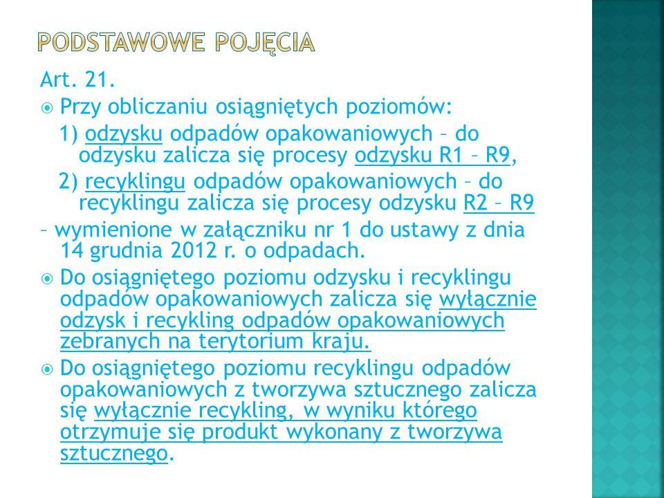 Art. 21.  Przy obliczaniu osiągniętych poziomów: 1) odzysku odpadów opakowaniowych – do odzysku zalicza się procesy odzysku R1 – R9, 2) recyklingu od