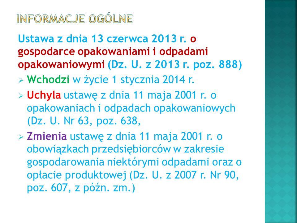 Ustawa z dnia 13 czerwca 2013 r. o gospodarce opakowaniami i odpadami opakowaniowymi (Dz. U. z 2013 r. poz. 888)  Wchodzi w życie 1 stycznia 2014 r.