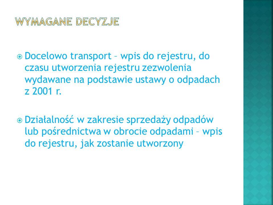  Docelowo transport – wpis do rejestru, do czasu utworzenia rejestru zezwolenia wydawane na podstawie ustawy o odpadach z 2001 r.  Działalność w zak