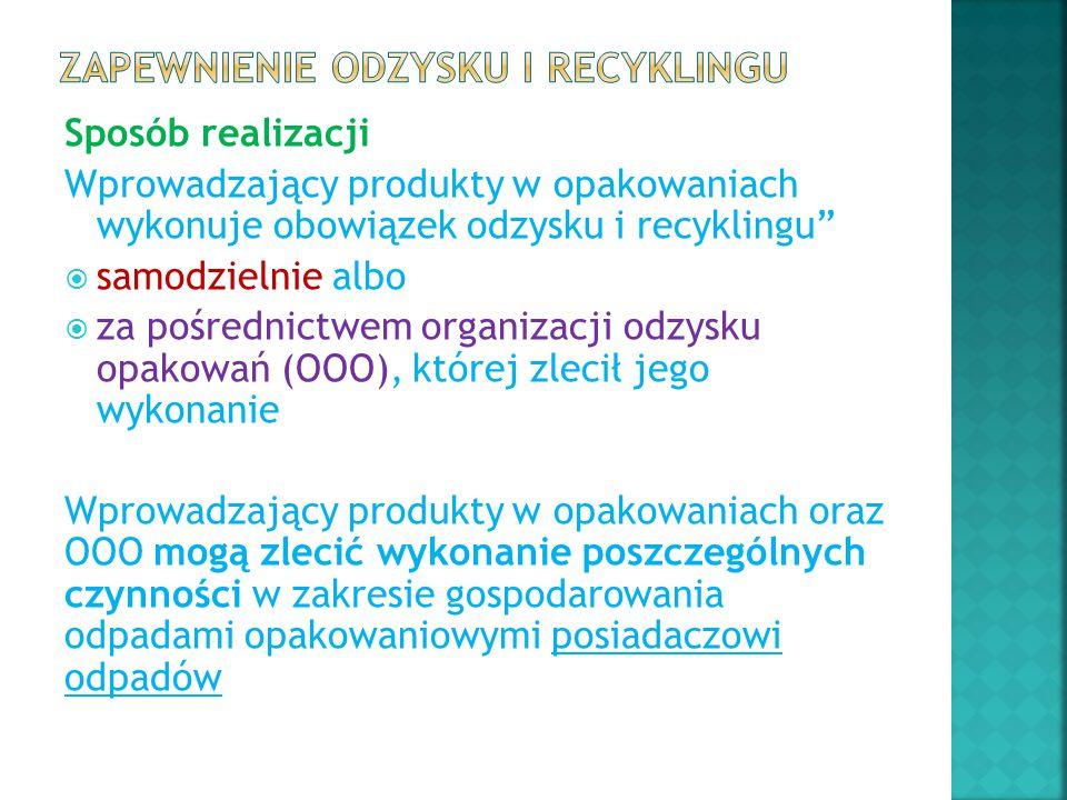 """Sposób realizacji Wprowadzający produkty w opakowaniach wykonuje obowiązek odzysku i recyklingu""""  samodzielnie albo  za pośrednictwem organizacji od"""