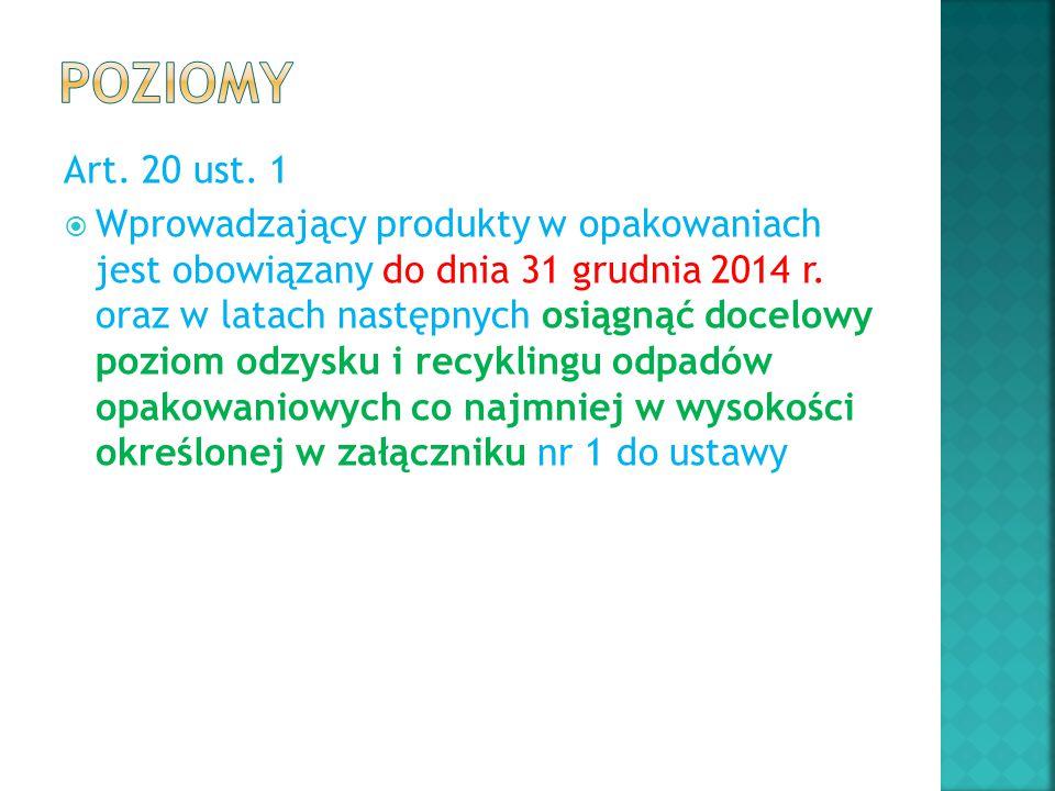 Art. 20 ust. 1  Wprowadzający produkty w opakowaniach jest obowiązany do dnia 31 grudnia 2014 r. oraz w latach następnych osiągnąć docelowy poziom od