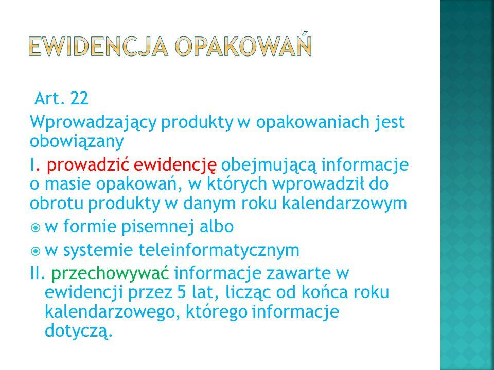 Art. 22 Wprowadzający produkty w opakowaniach jest obowiązany I. prowadzić ewidencję obejmującą informacje o masie opakowań, w których wprowadził do o