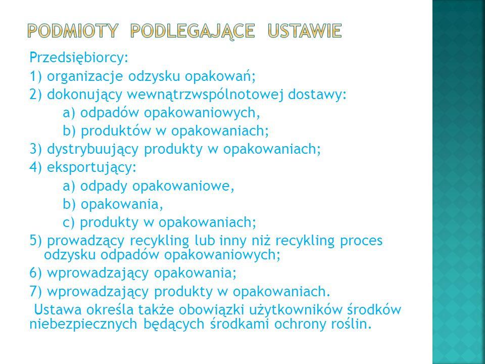 Przedsiębiorcy: 1) organizacje odzysku opakowań; 2) dokonujący wewnątrzwspólnotowej dostawy: a) odpadów opakowaniowych, b) produktów w opakowaniach; 3