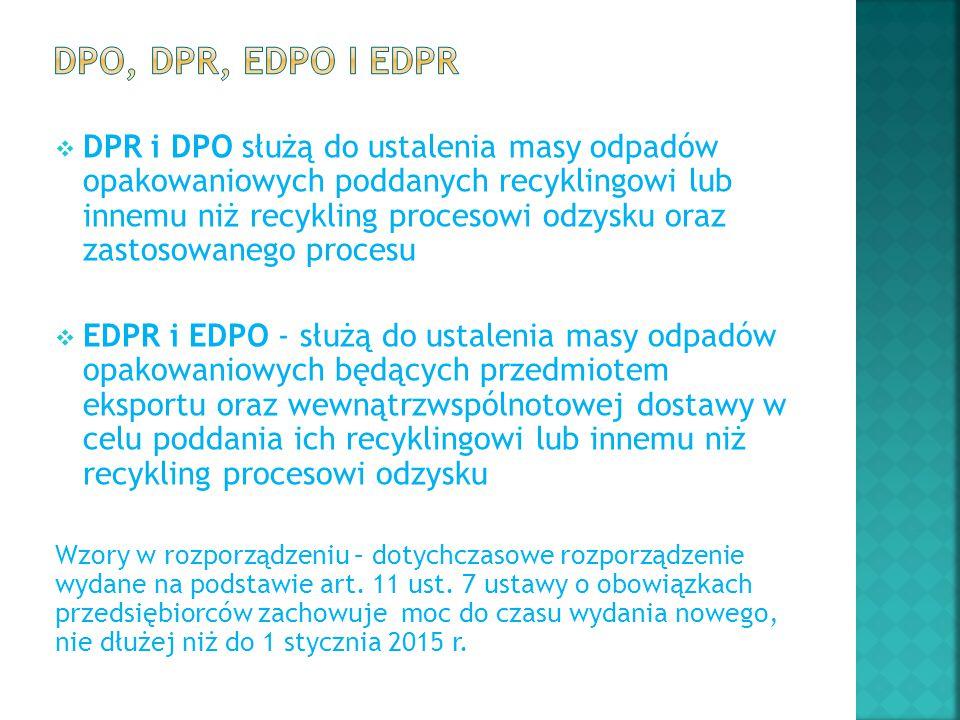  DPR i DPO służą do ustalenia masy odpadów opakowaniowych poddanych recyklingowi lub innemu niż recykling procesowi odzysku oraz zastosowanego proces