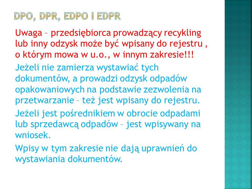 Uwaga – przedsiębiorca prowadzący recykling lub inny odzysk może być wpisany do rejestru, o którym mowa w u.o., w innym zakresie!!! Jeżeli nie zamierz