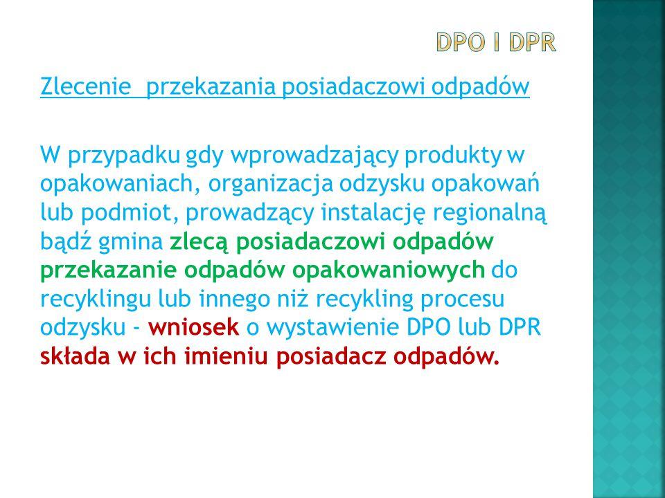 Zlecenie przekazania posiadaczowi odpadów W przypadku gdy wprowadzający produkty w opakowaniach, organizacja odzysku opakowań lub podmiot, prowadzący