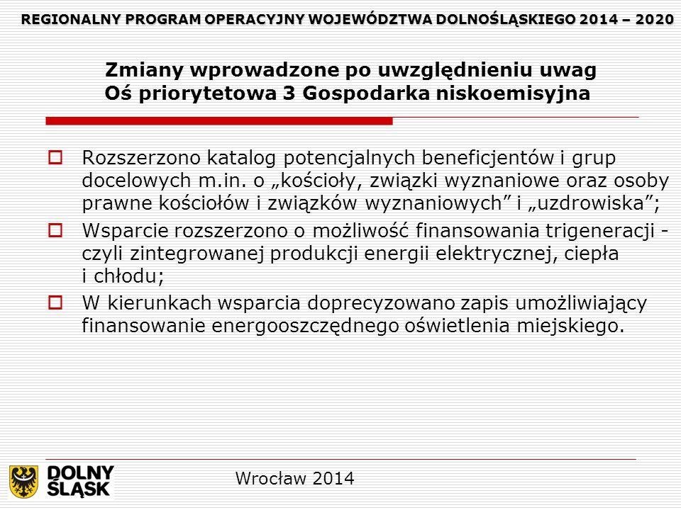REGIONALNY PROGRAM OPERACYJNY WOJEWÓDZTWA DOLNOŚLĄSKIEGO 2014 – 2020 REGIONALNY PROGRAM OPERACYJNY WOJEWÓDZTWA DOLNOŚLĄSKIEGO 2014 – 2020 Zmiany wprowadzone po uwzględnieniu uwag Oś priorytetowa 3 Gospodarka niskoemisyjna  Rozszerzono katalog potencjalnych beneficjentów i grup docelowych m.in.