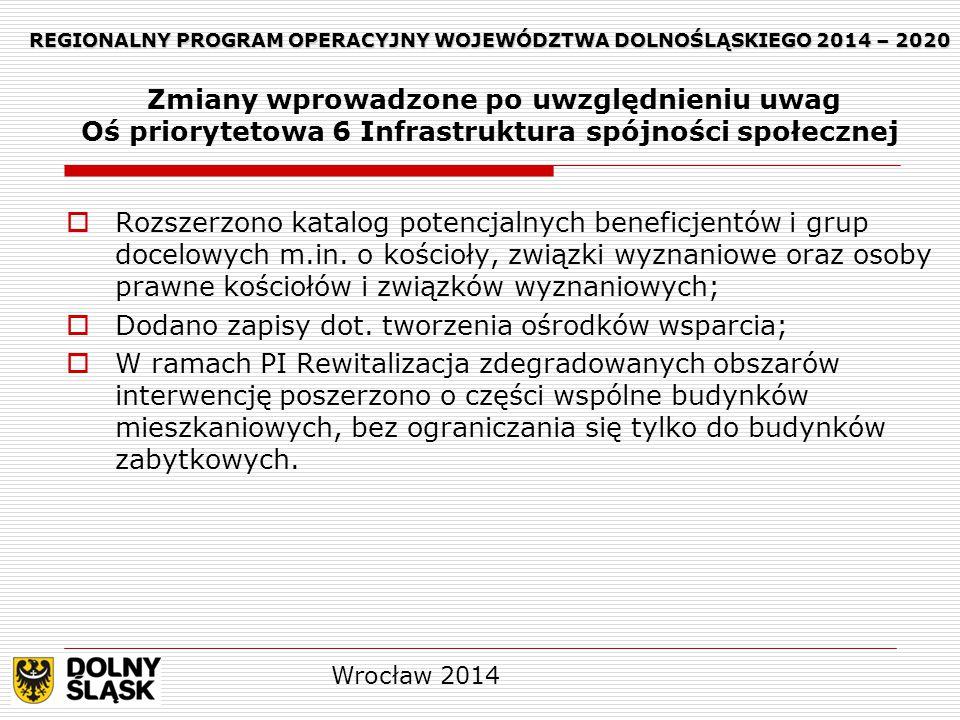 REGIONALNY PROGRAM OPERACYJNY WOJEWÓDZTWA DOLNOŚLĄSKIEGO 2014 – 2020 REGIONALNY PROGRAM OPERACYJNY WOJEWÓDZTWA DOLNOŚLĄSKIEGO 2014 – 2020 Zmiany wprowadzone po uwzględnieniu uwag Oś priorytetowa 6 Infrastruktura spójności społecznej  Rozszerzono katalog potencjalnych beneficjentów i grup docelowych m.in.