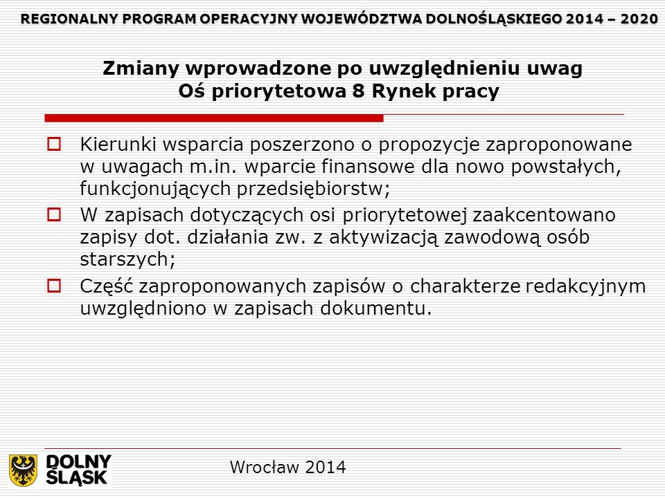 REGIONALNY PROGRAM OPERACYJNY WOJEWÓDZTWA DOLNOŚLĄSKIEGO 2014 – 2020 REGIONALNY PROGRAM OPERACYJNY WOJEWÓDZTWA DOLNOŚLĄSKIEGO 2014 – 2020 Zmiany wprowadzone po uwzględnieniu uwag Oś priorytetowa 8 Rynek pracy  Kierunki wsparcia poszerzono o propozycje zaproponowane w uwagach m.in.