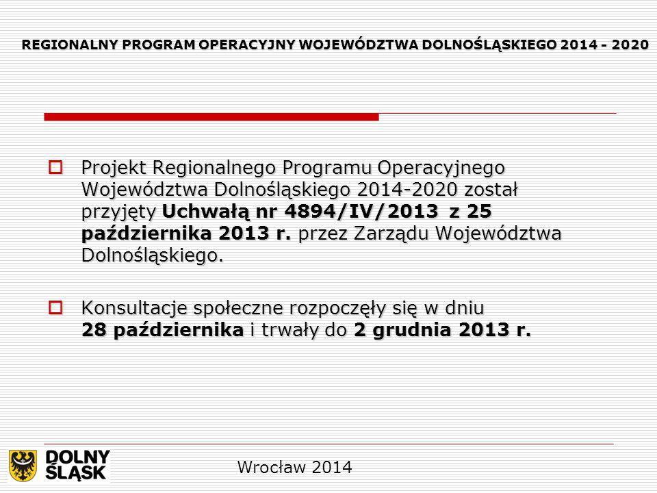  Projekt Regionalnego Programu Operacyjnego Województwa Dolnośląskiego 2014-2020 został przyjęty Uchwałą nr 4894/IV/2013 z 25 października 2013 r. pr