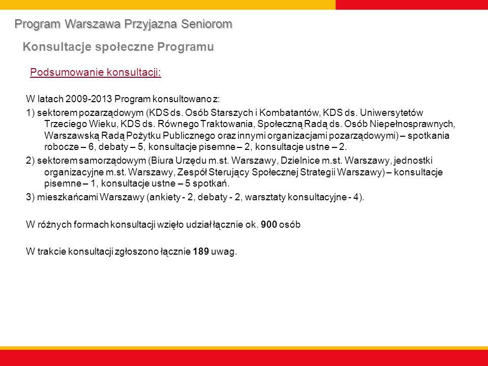 Podsumowanie konsultacji: W latach 2009-2013 Program konsultowano z: 1) sektorem pozarządowym (KDS ds.