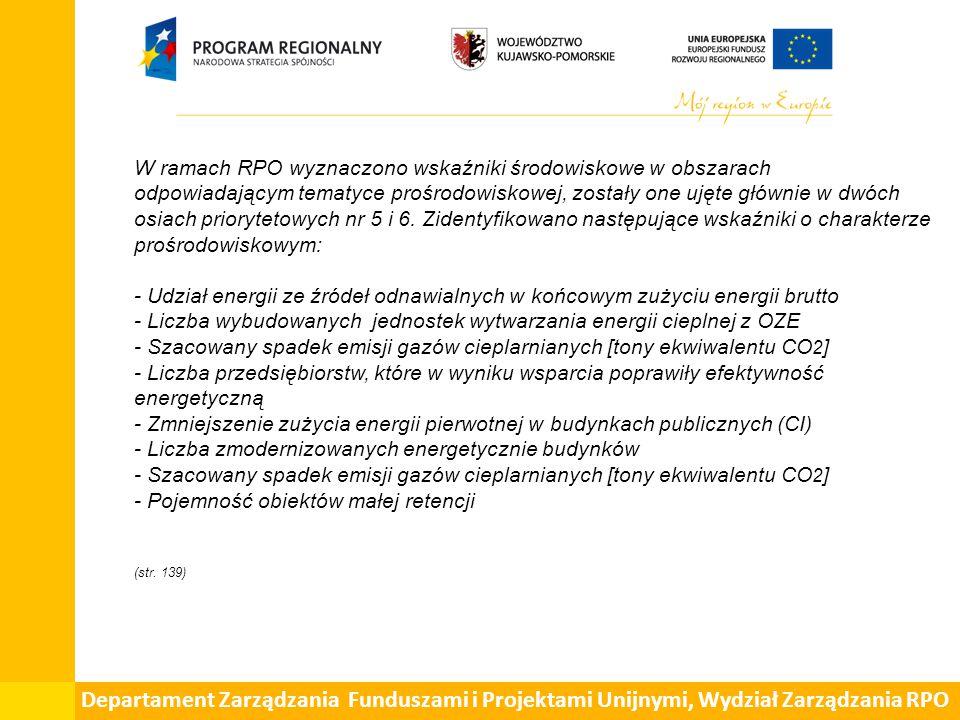 W ramach RPO wyznaczono wskaźniki środowiskowe w obszarach odpowiadającym tematyce prośrodowiskowej, zostały one ujęte głównie w dwóch osiach priorytetowych nr 5 i 6.