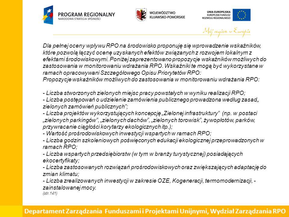 Departament Zarządzania Funduszami i Projektami Unijnymi, Wydział Zarządzania RPO.