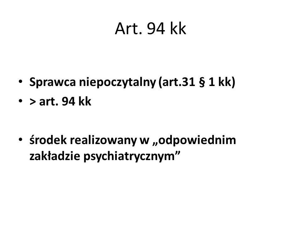 """Art. 94 kk Sprawca niepoczytalny (art.31 § 1 kk) > art. 94 kk środek realizowany w """"odpowiednim zakładzie psychiatrycznym"""""""
