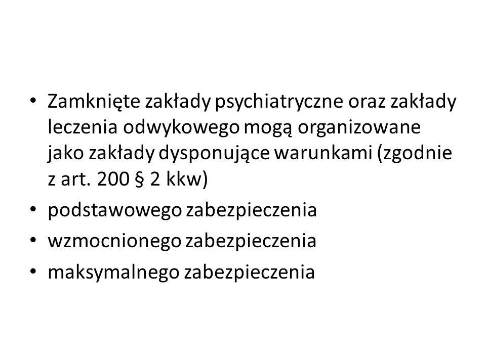 Zamknięte zakłady psychiatryczne oraz zakłady leczenia odwykowego mogą organizowane jako zakłady dysponujące warunkami (zgodnie z art. 200 § 2 kkw) po