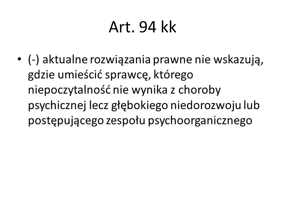 Art. 94 kk (-) aktualne rozwiązania prawne nie wskazują, gdzie umieścić sprawcę, którego niepoczytalność nie wynika z choroby psychicznej lecz głęboki