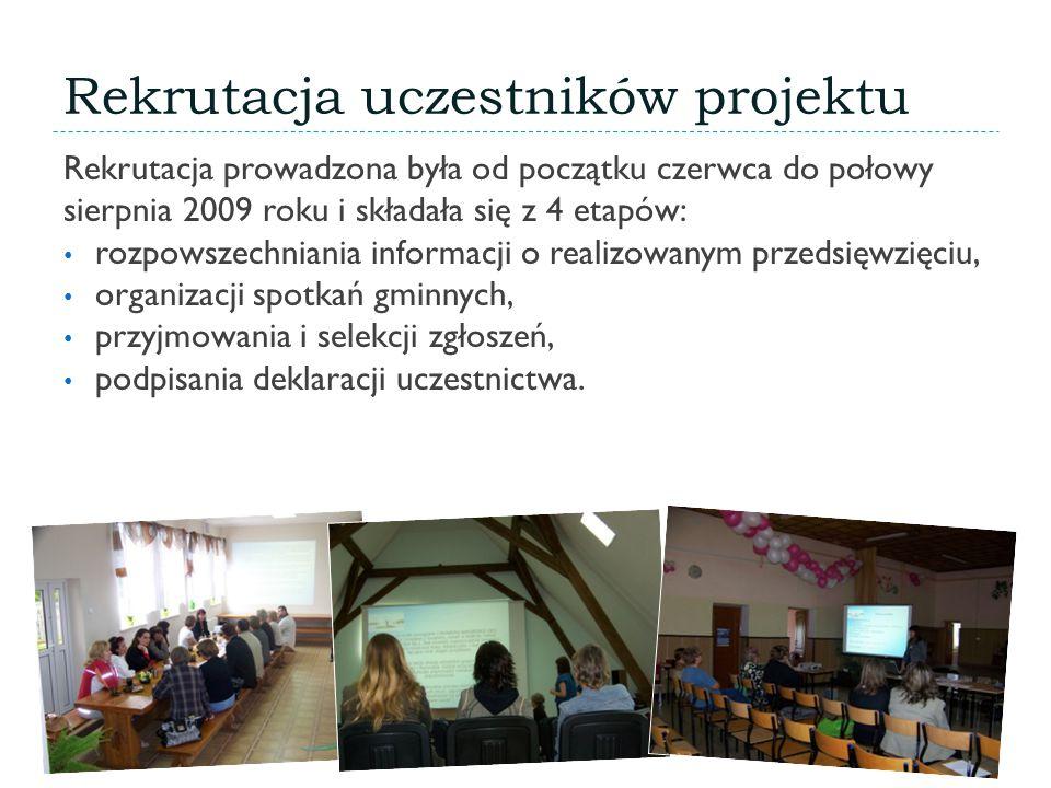 Rekrutacja uczestników projektu Rekrutacja prowadzona była od początku czerwca do połowy sierpnia 2009 roku i składała się z 4 etapów: rozpowszechniania informacji o realizowanym przedsięwzięciu, organizacji spotkań gminnych, przyjmowania i selekcji zgłoszeń, podpisania deklaracji uczestnictwa.