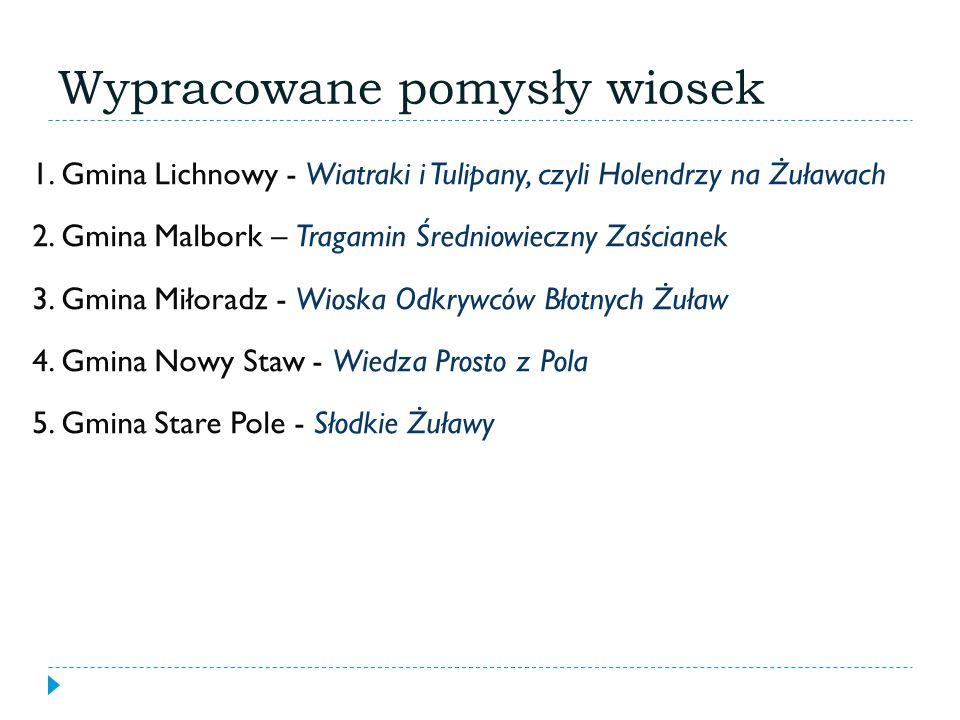 Wypracowane pomysły wiosek 1.Gmina Lichnowy - Wiatraki i Tulipany, czyli Holendrzy na Żuławach 2.