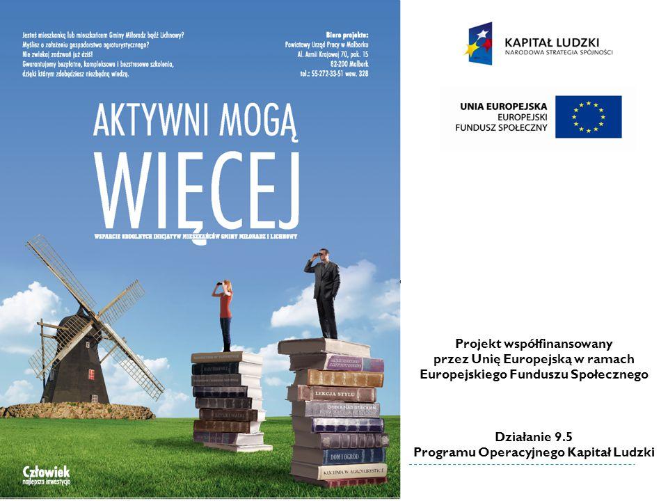 Projekt współfinansowany przez Unię Europejską w ramach Europejskiego Funduszu Społecznego Działanie 9.5 Programu Operacyjnego Kapitał Ludzki