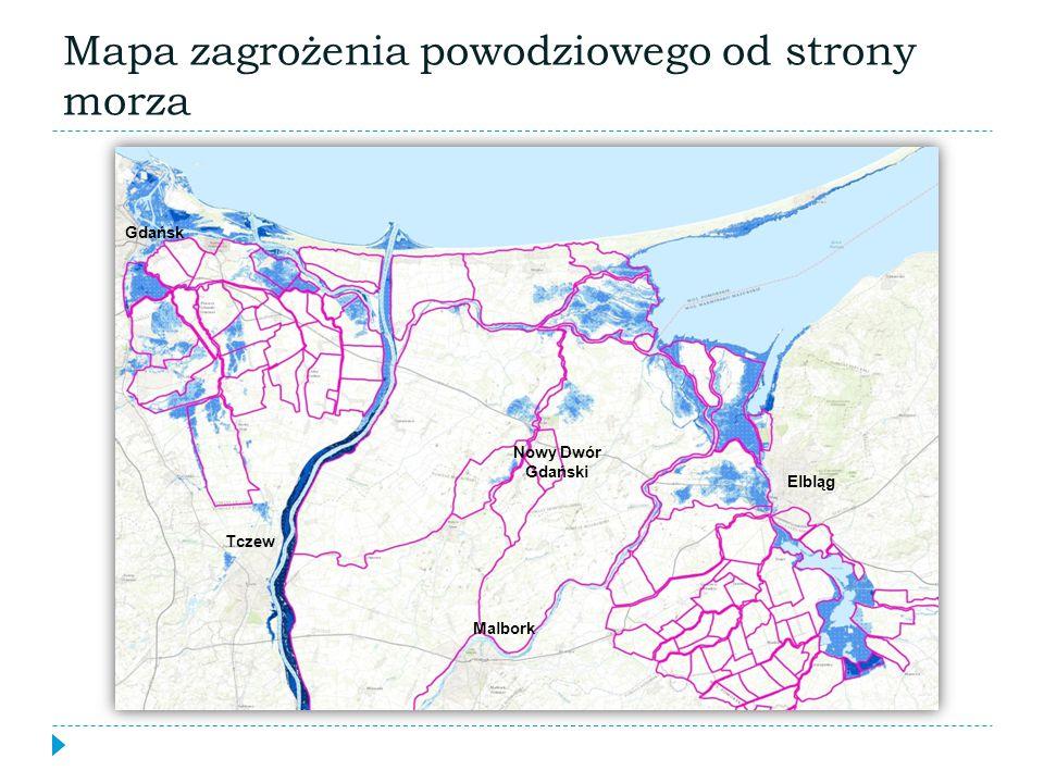 Malbork Elbląg Gdańsk Nowy Dwór Gdański Tczew Mapa zagrożenia powodziowego od strony morza