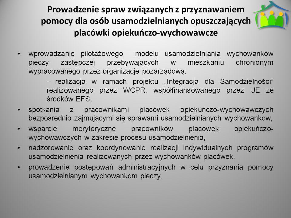 """Prowadzenie spraw związanych z przyznawaniem pomocy dla osób usamodzielnianych opuszczających placówki opiekuńczo-wychowawcze wprowadzanie pilotażowego modelu usamodzielniania wychowanków pieczy zastępczej przebywających w mieszkaniu chronionym wypracowanego przez organizację pozarządową: - realizacja w ramach projektu """"Integracja dla Samodzielności realizowanego przez WCPR, współfinansowanego przez UE ze środków EFS, spotkania z pracownikami placówek opiekuńczo-wychowawczych bezpośrednio zajmującymi się sprawami usamodzielnianych wychowanków, wsparcie merytoryczne pracowników placówek opiekuńczo- wychowawczych w zakresie procesu usamodzielnienia, nadzorowanie oraz koordynowanie realizacji indywidualnych programów usamodzielnienia realizowanych przez wychowanków placówek, prowadzenie postępowań administracyjnych w celu przyznania pomocy usamodzielnianym wychowankom pieczy,"""