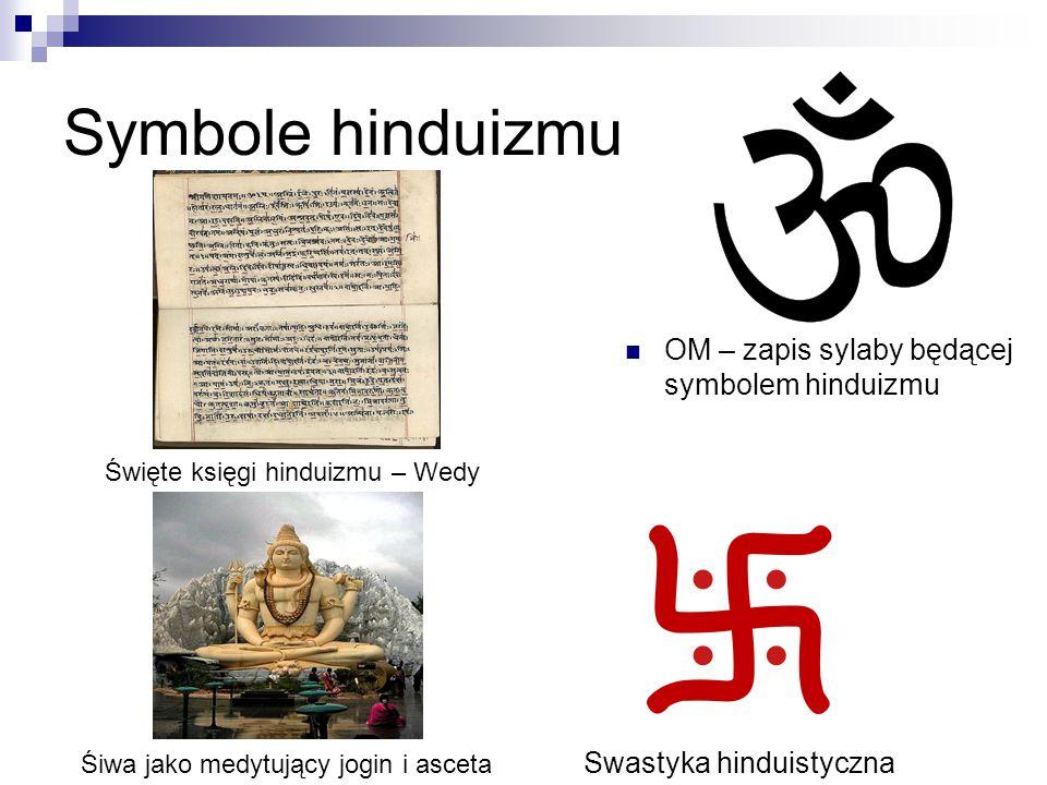 Symbole hinduizmu OM – zapis sylaby będącej symbolem hinduizmu Swastyka hinduistyczna Święte księgi hinduizmu – Wedy Śiwa jako medytujący jogin i asce